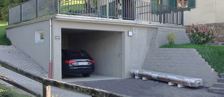 Neubau einer begrünten Garage